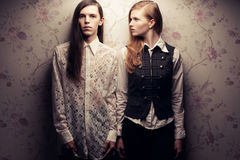 Beautiful Long Haired People In Vintage Style Stock Photo