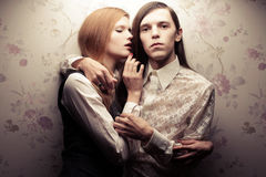 Beautiful long haired people in vintage style Royalty Free Stock Photo