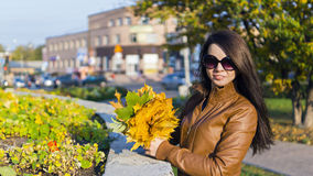 Beautiful long haired woman with bundle of maple leaves Stock Photos