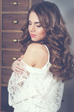 Beautiful long-haired woman Royalty Free Stock Image