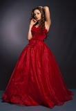 Beautiful long haired woman in red dress stock photography