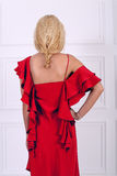 Beautiful long haired woman in red dress Royalty Free Stock Photos