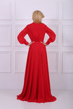 Beautiful long haired woman in red dress Stock Images