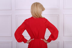 Beautiful long haired woman in red dress Royalty Free Stock Images