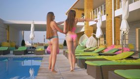 Beautiful long haired women friends into bathing suit have rest near swimming-pool during summer weekend at resort. Beautiful long haired women friends into stock footage