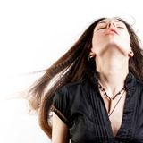 Beautiful long-haired young woman has a dream stock photo