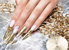 Beautiful long nails in a gold design with Royalty Free Stock Images
