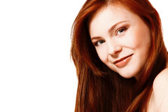 Beautiful long red healt hair of young attractive woman Stock Images