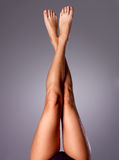 Beautiful long slender female legs after depilation Stock Photos
