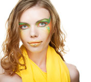 Beautiful look. Young woman. Closeup. Creative makeup Stock Photo
