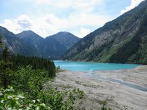 beautiful look at the river delta from Kinney Lake, along the Berg Lake trail royalty free stock image