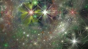 Beautiful loopable fractal video with detailed interchanging, moving and rotating green,pink,red and blue flowers and stars stock video