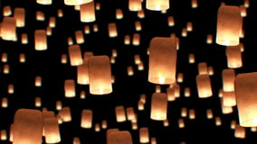 Beautiful Looped 3d animation of Floating Lanterns in Yee Peng Festival. Seamless. HD 1080