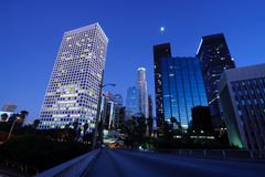 Beautiful Los Angeles under the moonlight. Beautiful Los Angeles skyline under the moonlight Royalty Free Stock Image