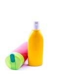 Beautiful lotion bottles Stock Photos