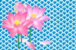 Beautiful lotus flowers in the water. Beautiful lotus flowers in the blue water waves Stock Photography