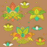Beautiful Lotus: Ornament Vector Yoga. Hand Drawn Element. Picture For Design. Stock Images