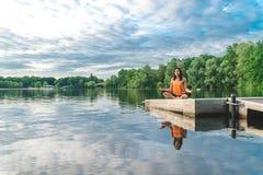 beautiful lotus pose sitting woman Στοκ εικόνες με δικαίωμα ελεύθερης χρήσης
