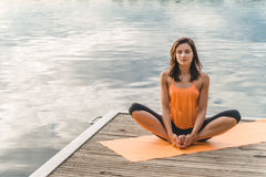 beautiful lotus pose sitting woman Στοκ φωτογραφίες με δικαίωμα ελεύθερης χρήσης