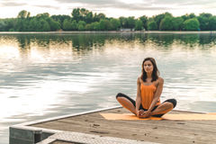 beautiful lotus pose sitting woman Στοκ Φωτογραφίες