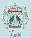 Beautiful love card with birds in cage Royalty Free Stock Image