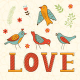 Beautiful love card with birds Stock Images