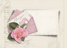 Beautiful love card. Retro postcard for Valentine Stock Image