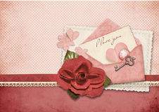 Beautiful love card. Retro postcard for Valentine Stock Photos