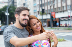 Beautiful love couple outdoor in the city Stock Images
