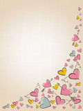 Beautiful love hearts on vintage background. Valentine Day background with pink hand drawn hearts. Stock Photo