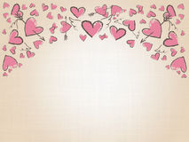 Beautiful love hearts on vintage background. Valentine Day background with pink hand drawn hearts. Royalty Free Stock Photo