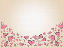 Beautiful love hearts on vintage background. Valentine Day background with pink hand drawn hearts. Stock Photography