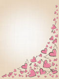 Beautiful love hearts on vintage background. Valentine Day background with pink hand drawn hearts. Royalty Free Stock Images