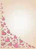 Beautiful love hearts on vintage background. Valentine Day background with pink hand drawn hearts. Stock Photos