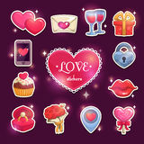 Beautiful love and passion stickers Royalty Free Stock Photography