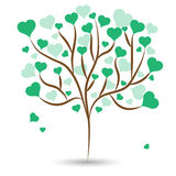 Beautiful love tree with green heart leaves different sizes on white background. Vector illustration Stock Photo