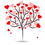 Beautiful love tree with hot red heart leaves different sizes on white background. Vector illustration Royalty Free Stock Image