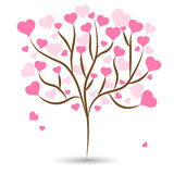 Beautiful love tree with pink heart leaves different sizes on white background. Vector illustration Royalty Free Stock Photos