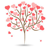 Beautiful love tree with red heart leaves different sizes on white background. Vector illustration Stock Photography