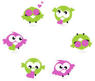 Beautiful love twitter birds set isolated on white. Cute Twitter birds with hearts - green and purple. Vector Stock Photography