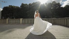Beautiful and lovely bride in wedding dress and veil in sunbeams. Slow motion