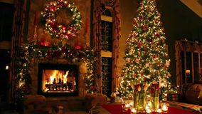 Beautiful lovely cosy romantic atmosphere festive Christmas tree New Year Eve Noel domestic fireplace light interior