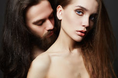 Beautiful lovely couple. Sexy women and handsome man.boy and girl kissing Stock Images