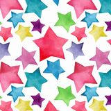 Beautiful lovely cute wonderful graphic bright artistic red pink blue purple green yellow stars pattern watercolor. Hand sketch. Perfect for textile, wallpapers stock illustration