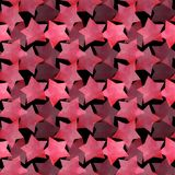 Beautiful lovely cute wonderful graphic bright artistic transparent red pink stars on black background pattern watercolor. Hand sketch. Perfect for textile vector illustration