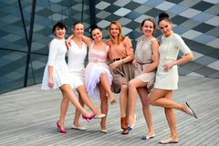 Beautiful lovely girls dancing in Vilnius city Royalty Free Stock Photography
