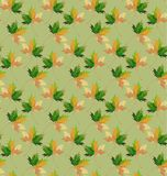 Beautiful lovely graphic abstract bright floral herbal autumn green maple leaves pattern on pastel background vector sketch Stock Photo