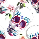Beautiful lovely graphic artistic abstract bright cute halloween. Stylish floral skull with tender roses watercolor hand sketch. Perfect for textile, wallpapers Royalty Free Stock Image