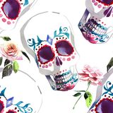 Beautiful lovely graphic artistic abstract bright cute halloween stylish floral skull with tender roses watercolor hand sketch Royalty Free Stock Images