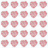 Beautiful lovely summer juicy tasty red and pink strawberry hearts pattern Stock Images